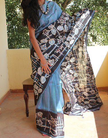 Navy Blue Handpainted Bishnupuri Silk Saree