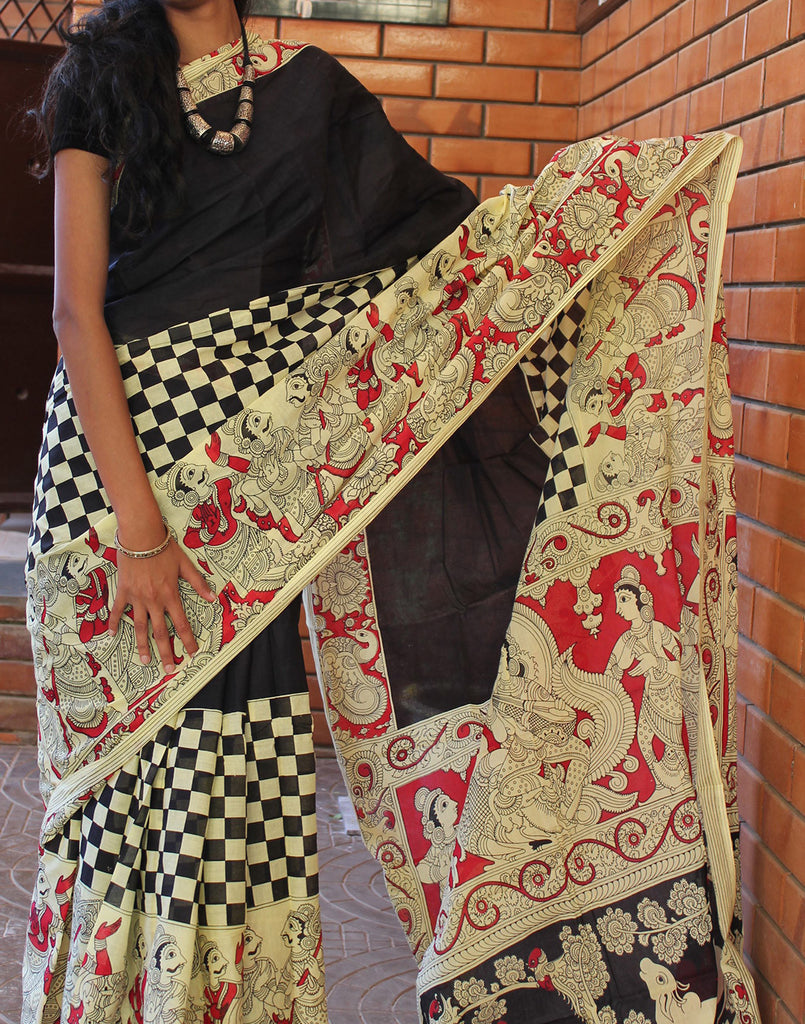 Handpainted Mulmul Cotton Saree