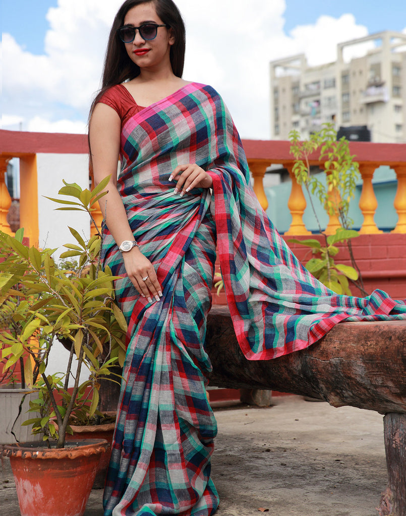 Checked Linen Saree