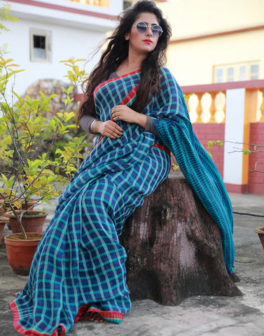 Blue Checked Linen Saree