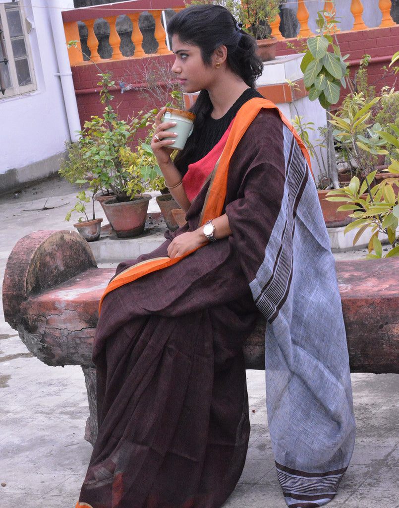 Coffee Brown Pure Linen Saree