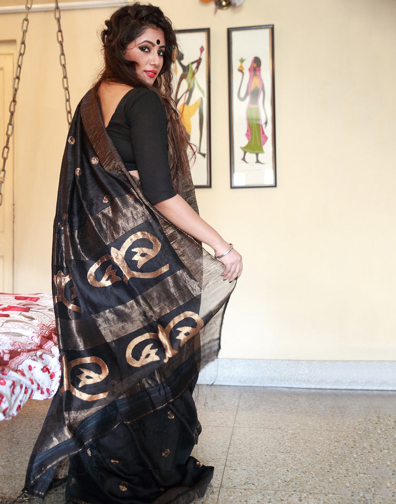 Rich Black Motka Tussar Silk Saree