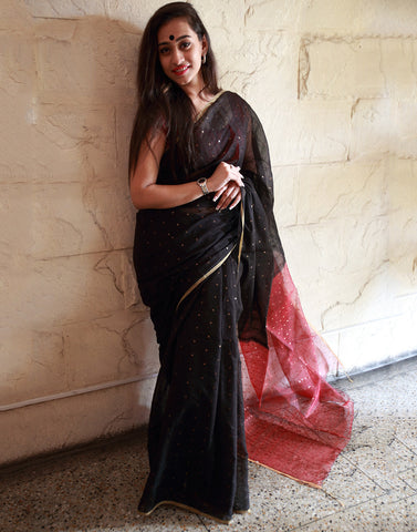 Black Ahinsa Handloom Silk Saree