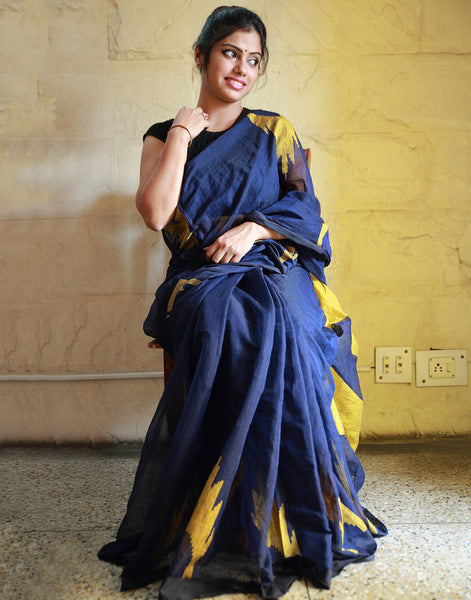 Royal Navy Blue Muslin Saree