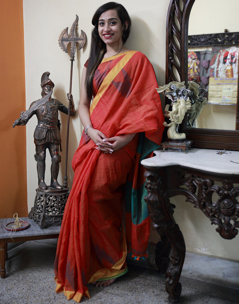 Rustic Orange Muslin Saree