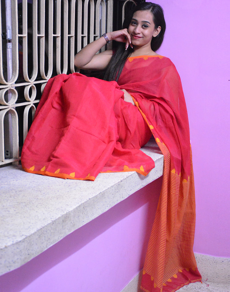 Coral Red Soft Muslin Cotton Saree