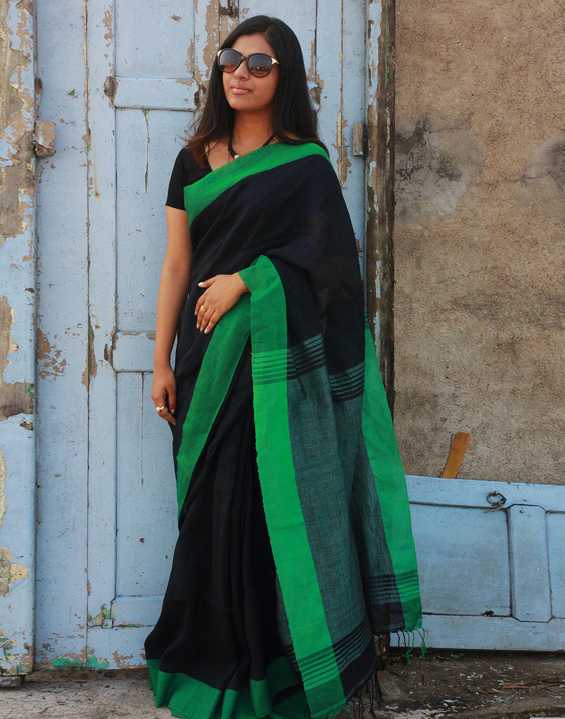 Dark Blue Pure Linen Handloom Saree