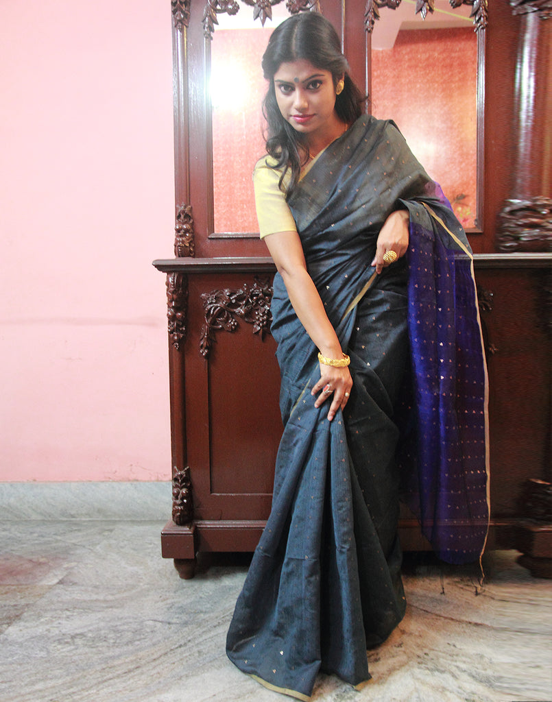Grey Silk Cotton Handloom Saree