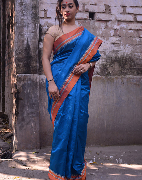 Blue Bengal Cotton Silk