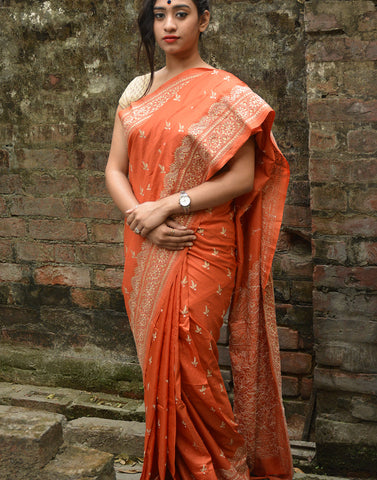 Rust Hand Embroidered Kantha Silk Saree