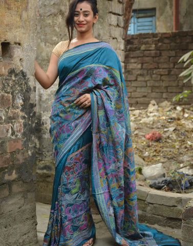 Peacocok Blue Hand Embroidered Kantha Silk Saree