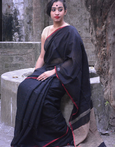 Black Jute Cotton Saree