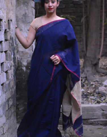 Navy Blue Jute Cotton Saree