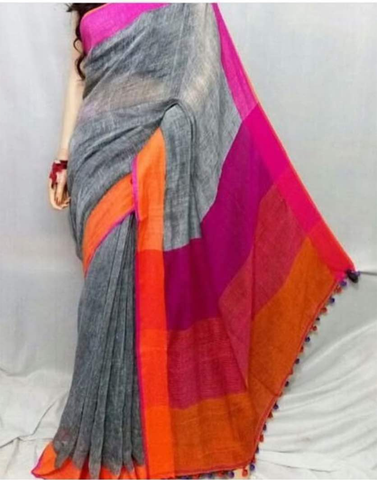 Gray Pure Linen Handloom Saree