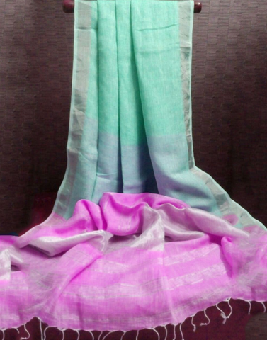 Pista Green Pure Linen Handloom Saree