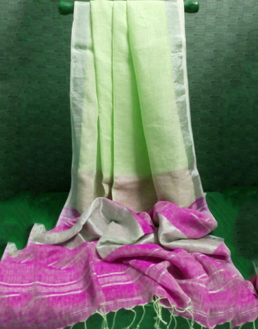 Green Pure Linen Handloom Saree