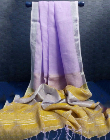 Purple Pure Linen Handloom Saree