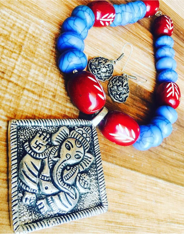 Blue Beads Set with Ganesha pendent
