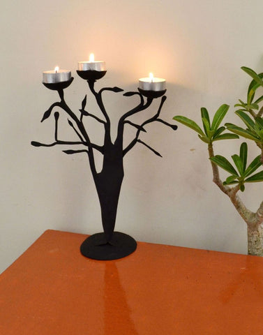 Wrought Iron Tree Candle Holder