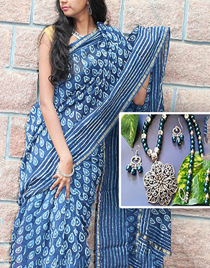 Dabu printed chanderi matched with oxidised jewellery