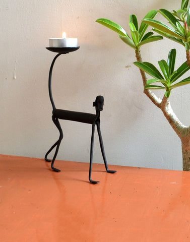wrought iron monkey Candle stand
