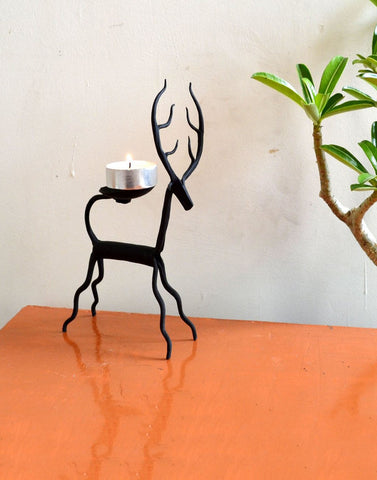 wrought iron deer Candle stand