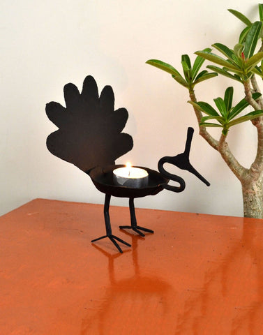 wrought iron Peacock Candle stand