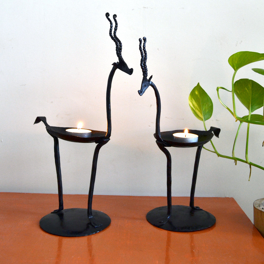 wrought iron tribal deer pair Candle stand