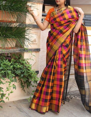 Checked Kanchi Silk Cotton Saree
