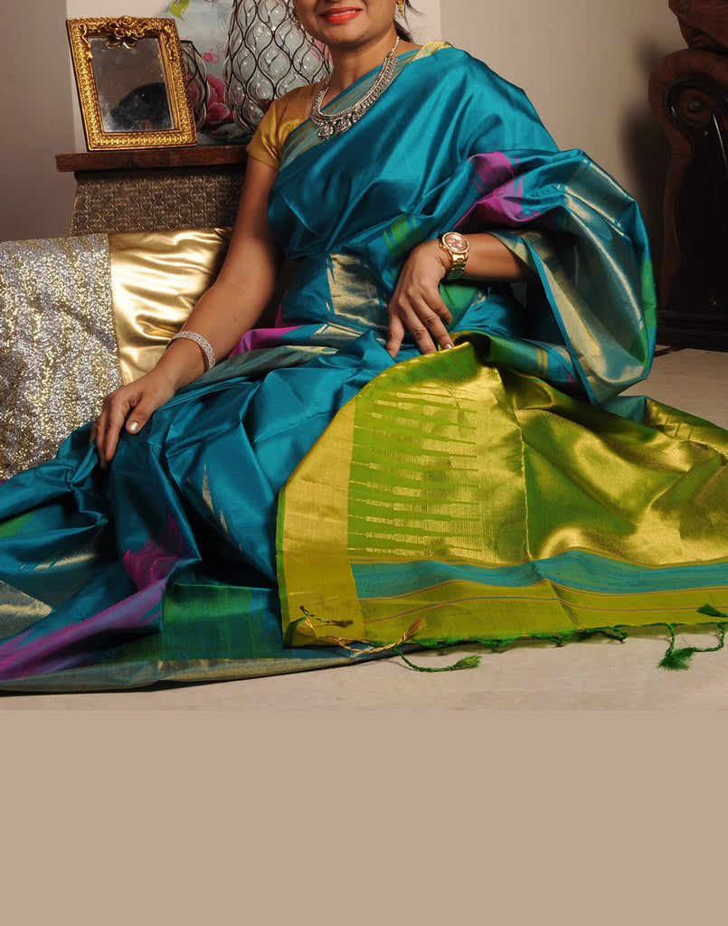 Blue Bendex Silk Saree