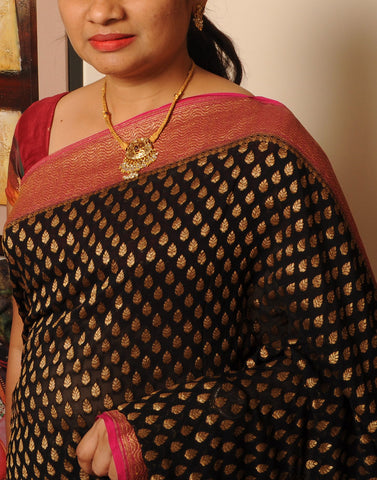 Black Banaras Crepe Silk Saree