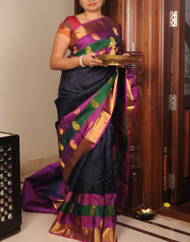 Black Kanjeevaram Silk Saree