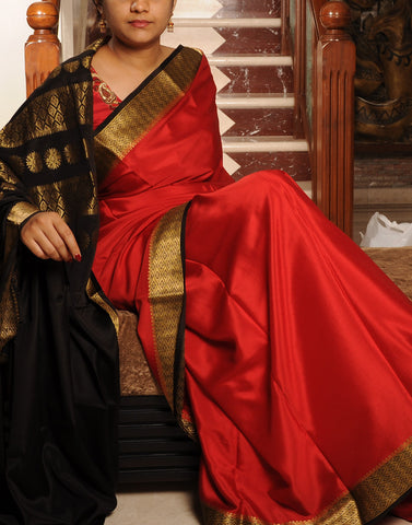 Oil Red  Mysore silk Saree