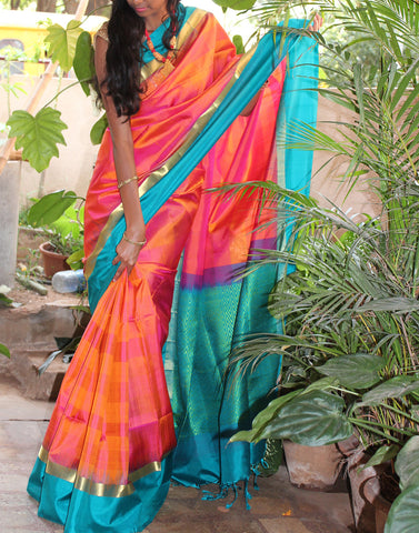 Orange Bendex  Silk Saree