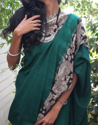 Green Soft Silk Kalamkari Saree