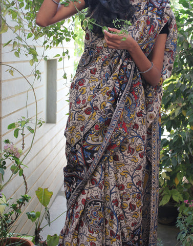 Beige Soft Silk Kalamkari Saree