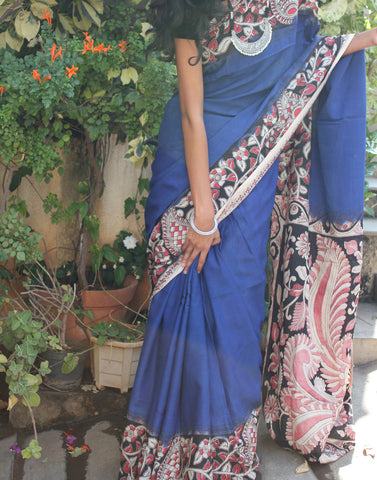 Deep Blue Soft Silk Kalamkari Saree