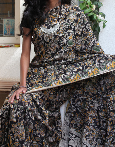 Black Soft Silk Kalamkari Saree