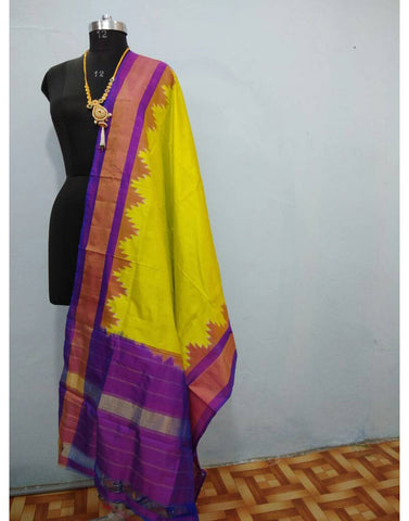 Lemon Yellow with Purple border ikkat Silk Dupatta