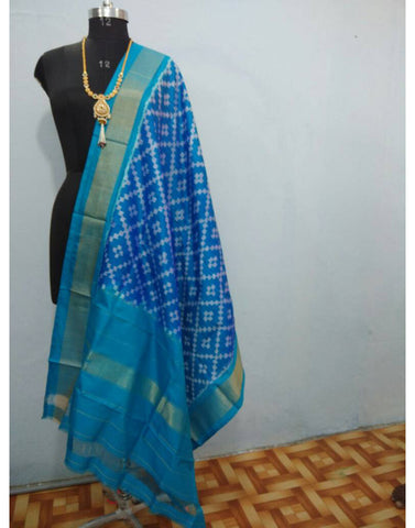 Sky Blue with white motifs ikkat Silk Dupatta