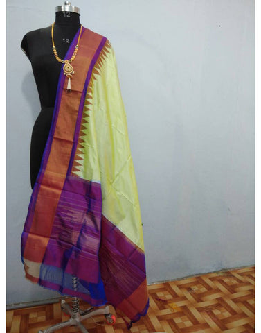 Cream with Purple border ikkat Silk Dupatta