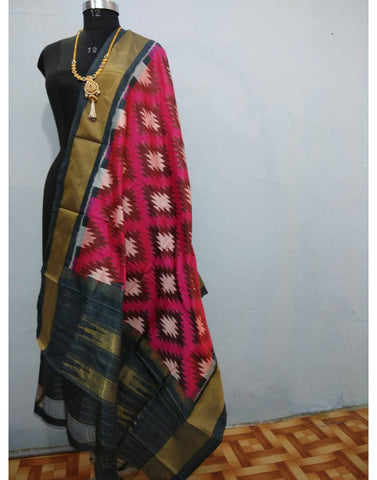 Rich Pink with Black border ikkat Silk Dupatta