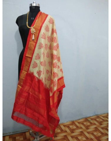 Offwhite with Red border ikkat Silk Dupatta