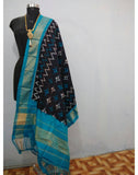 Black with Blue border ikkat Silk Dupatta