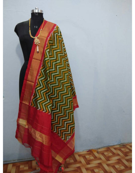 Leaf Green with Red border ikkat Silk Dupatta