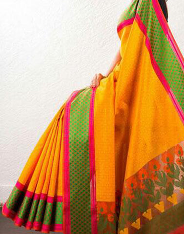 Mustard Yellow Banaras Handloom Saree