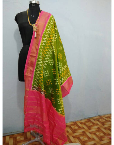 Leaf Green with Pink border ikkat Silk Dupatta