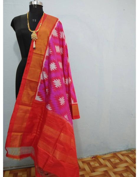 Pink with Red border ikkat Silk Dupatta