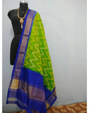 Leaf Green with Blue border ikkat Silk Dupatta