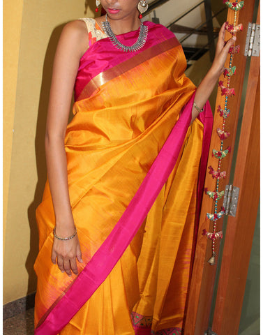 Mustard Yellow Bendex Silk Saree